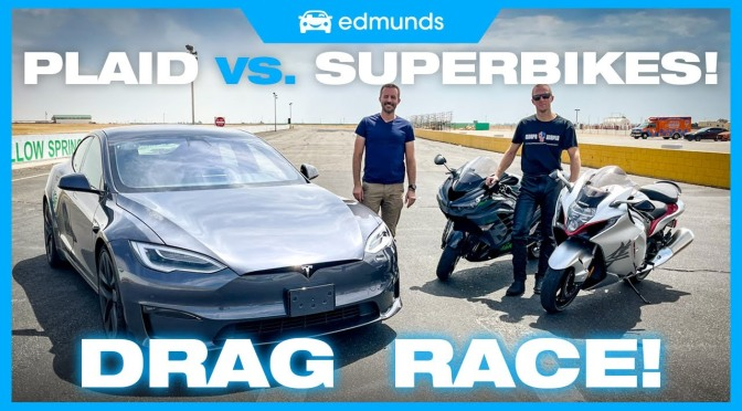 Tesla Model S Plaid Beats Hayabusa in Drag Race